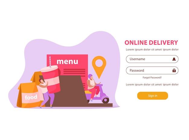 Fondo piatto di consegna del cibo per la pagina di destinazione web