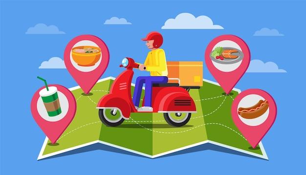 Illustrazione di design piatto di consegna del cibo