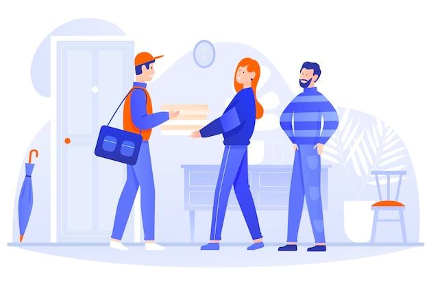 Illustrazione della casa di consegna del cibo. il carattere felice del corriere del postino del fumetto consegna la scatola alle persone delle coppie dei clienti, che tiene il pacchetto con il cibo nelle mani. servizio di consegna veloce su bianco