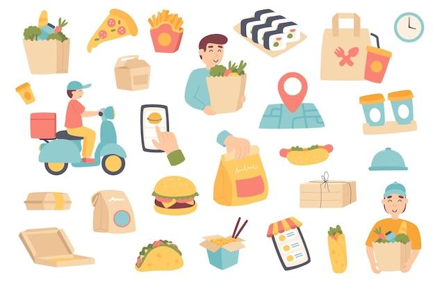 Insieme di oggetti isolati per la consegna del cibo raccolta del cliente del corriere con pizza al sacco della spesa