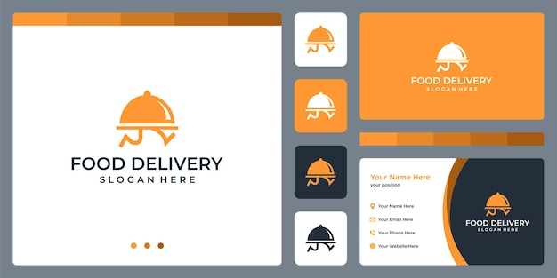 Ispirazione per il design del logo per la consegna del cibo. disegno del modello di biglietto da visita.