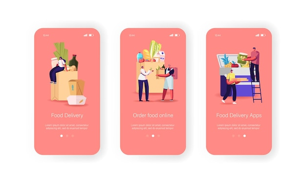 Modello di schermo integrato della pagina dell'app mobile per la consegna di cibo