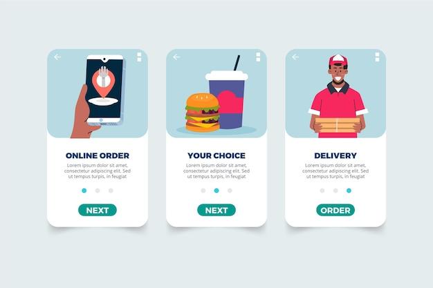 Schermate di consegna cibo a bordo app