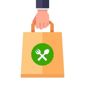 Consegna del cibo in un sacchetto di carta. illustrazione piatta.
