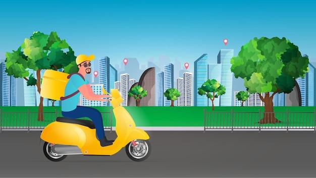 Consegna di cibo su uno scooter. un ragazzo con uno zaino giallo guida attraverso il parco