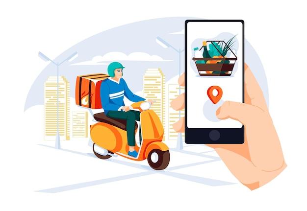 Servizio di consegna cibo in scooter con corriere mano che tiene l'applicazione mobile che fa un cesto di cibo
