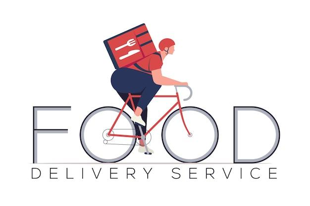 Concetto di servizio di consegna cibo con carattere di corriere sulla costruzione di biciclette nella parola di cibo