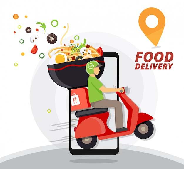 Servizio di consegna cibo, consegna fast food, servizio di consegna scooter, illustrazione