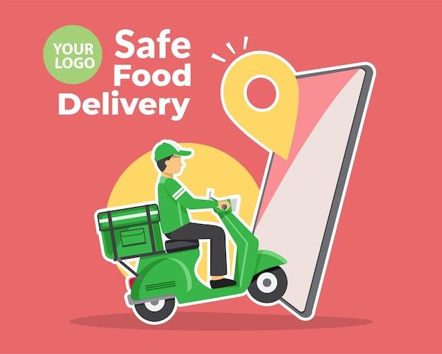 Servizio di consegna di cibo, consegna di fast food, servizio di consegna di scooter, illustrazione vettoriale