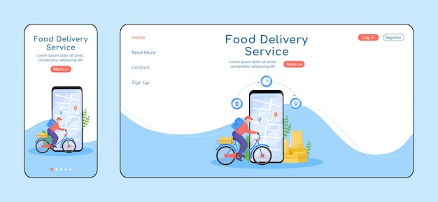 Pagina di destinazione del servizio di consegna cibo