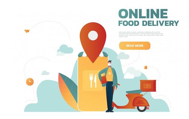 Servizio di consegna cibo. applicazione mobile. giovane corriere maschio con un grande zaino in sella a una moto. illustrazione modificabile piatta, clip art.