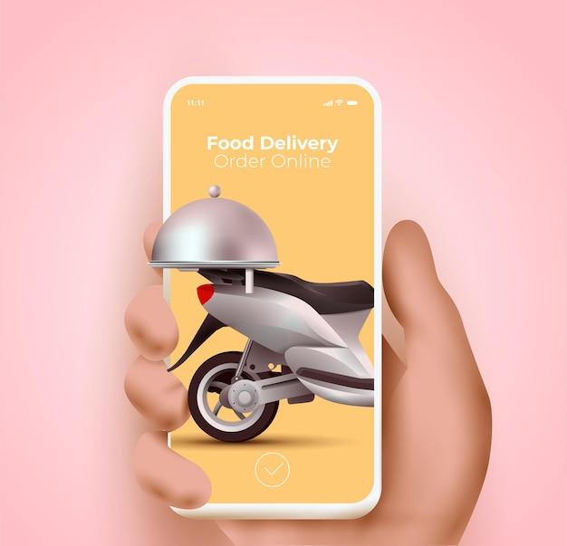 Sito web del servizio di consegna di cibo o applicazione mobile e concetto di ordinazione di cibo online