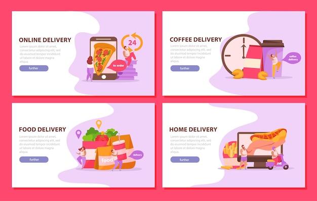 Set di consegna di cibo di pagine di destinazione banner orizzontali