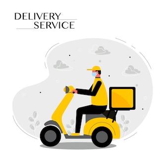 Personale di consegna cibo in sella a moto servizio di consegna o concetto di moto