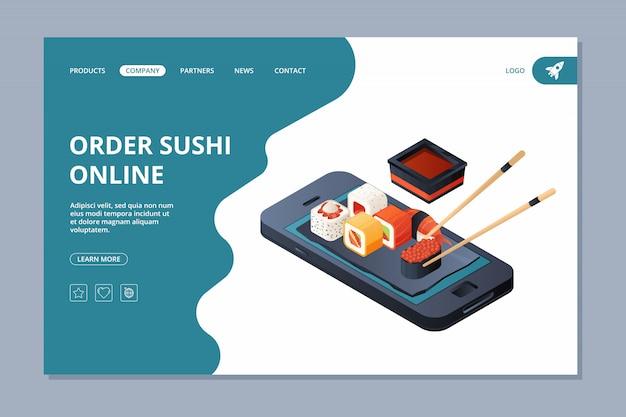Consegna del cibo. atterraggio di affari di consegna online del modello di progettazione della pagina web del sito web di atterraggio dei frutti di mare del sushi