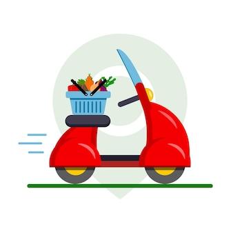 Consegna di cibo di verdure su un ciclomotore rosso, moto attraverso l'applicazione sul telefono