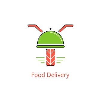 Consegna cibo con scooter e piatto. concetto di caffè online, sconti sui pagamenti, corriere, sala da pranzo, servizio di pasti. isolato su sfondo bianco. illustrazione vettoriale di design moderno del marchio in stile piatto