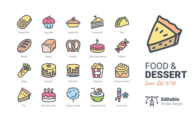 Raccolta di icone vettoriali cibo e dessert