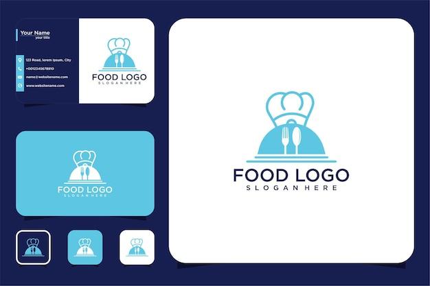 Piatto di cibo con design del logo del cappello da chef e biglietto da visita