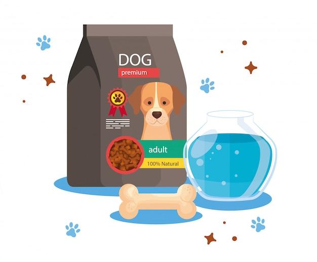 Alimento per cane in busta con ciotola di pesce rotonda in vetro e osso