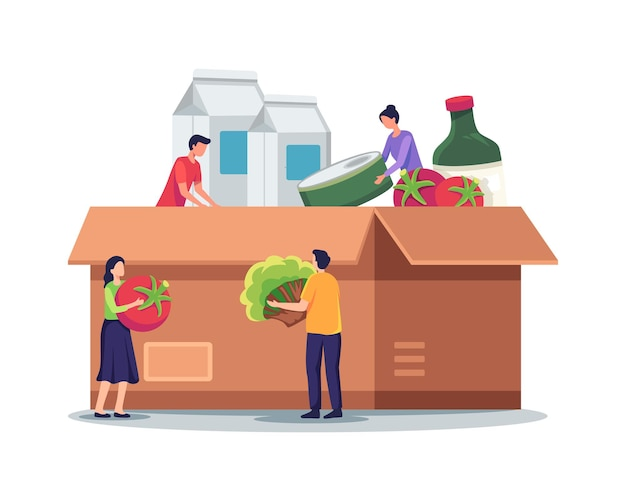 Illustrazione della scatola di donazione di cibo. personaggi minuscoli che riempiono la scatola delle donazioni di cartone. i volontari raccolgono aiuti con cibo e generi alimentari per i senzatetto e i poveri. illustrazione vettoriale in uno stile piatto