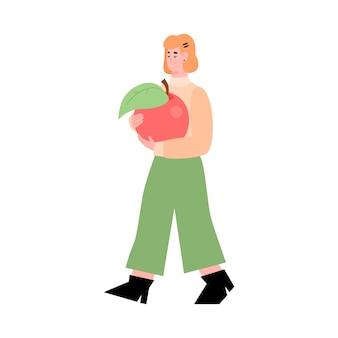 Concetto di donazione di cibo la donna che tiene la mela piatta illustrazione vettoriale isolata