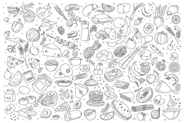 Insieme di doodle di cibo