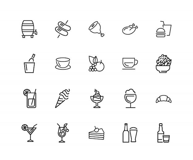 Icone di cibi e bevande. set di venti icone di linea. frutta, carne, succo Vettore Premium