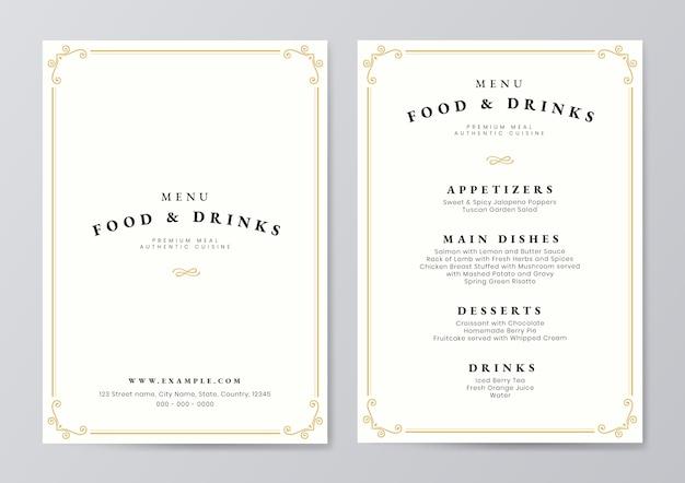Vettore del modello del menu delle bevande e dell'alimento