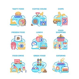 Cibo mangiare nutrizione set icone