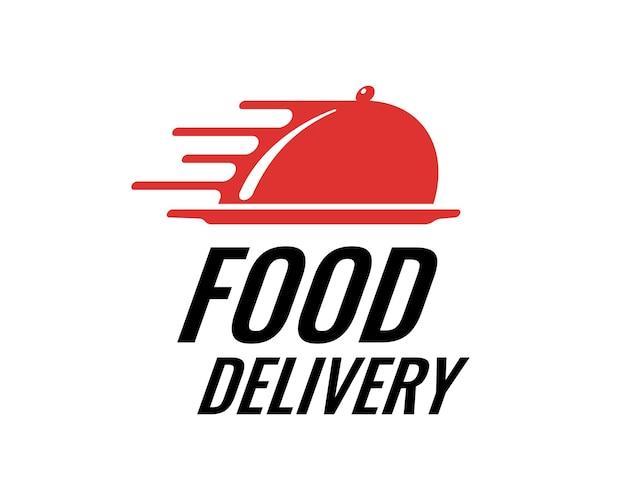 Concetto di logo del marchio di consegna rapida degli alimenti per la società di servizi di catering del ristorante. illustrazione isolata di vettore del logotipo di affari espresso del caffè
