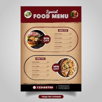 Modello di menu volantino alimentare. menu fast food vintage per ristorante