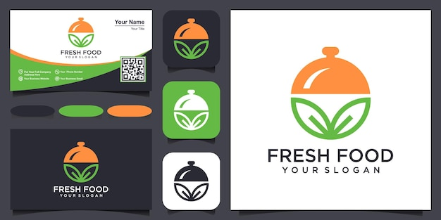Il cibo fresco si combina con il logo dell'elemento foglia e il vettore di design del biglietto da visita.