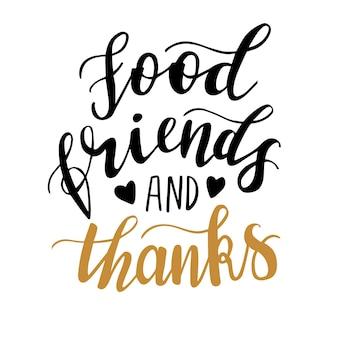 Amici del cibo e lettere disegnate a mano grazie