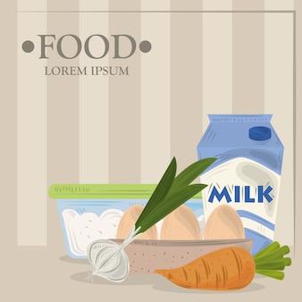Cibo, aglio, carota, uova, latte e zucchero, illustrazione