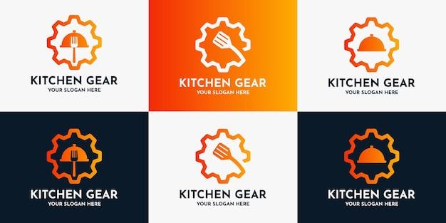 Set di ispirazione per il logo dell'attrezzatura alimentare