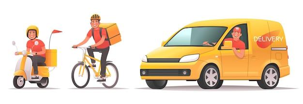 Servizio di consegna di cibo e merci monitoraggio degli ordini online applicazione mobile il corriere guida lo scooter