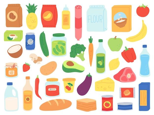 Generi alimentari. acquista prodotti in sacchetti e bottiglie. snack del supermercato, lattina di pasta e pomodoro, latte e cereali. insieme di vettore di beni alimentari. illustrazione supermercato, salsiccia e pane, formaggio e avocado