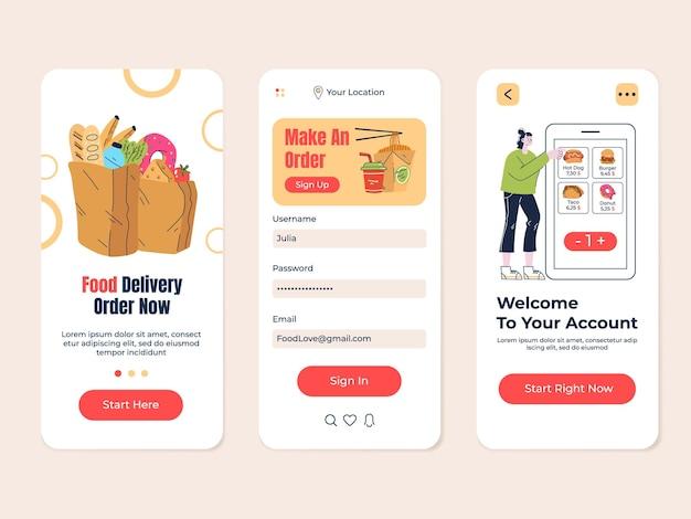 Cibo negozio di consegna di generi alimentari cafe ricerca mobile app vettore piatto moderno design