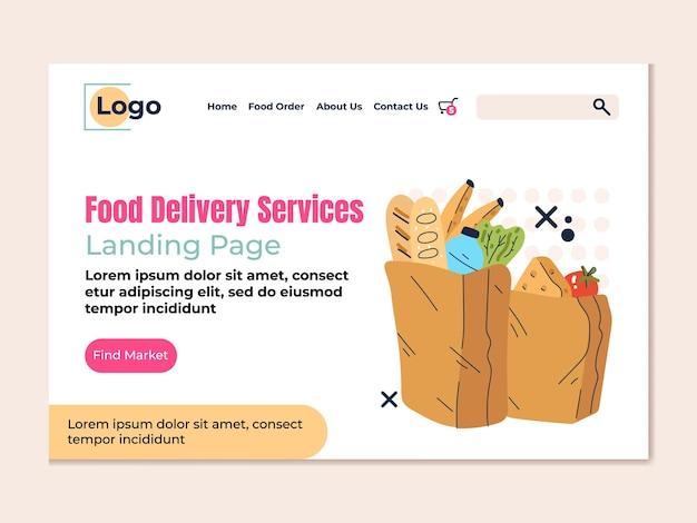 Pagina di destinazione piatta di design in stile moderno di consegna veloce di generi alimentari di cibo