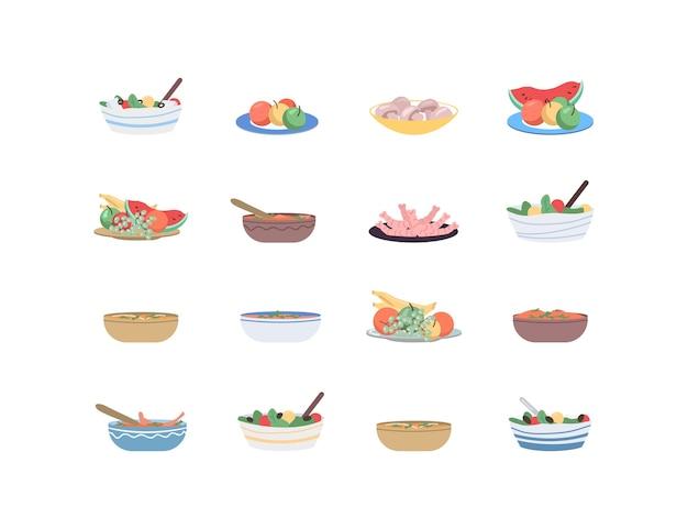 Insieme di oggetti di colore piatto di cibo per vacanze