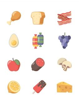 Icona cibo. dolci di carne al caffè uova di pizza e bistecca e altri simboli del cibo in stile piano