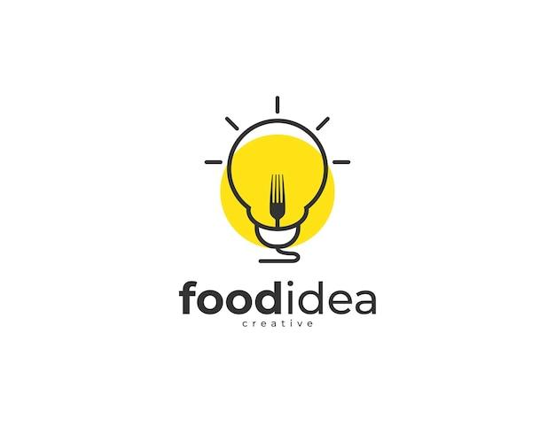 Logo creativo dell'idea alimentare con design a bulbo e forchetta