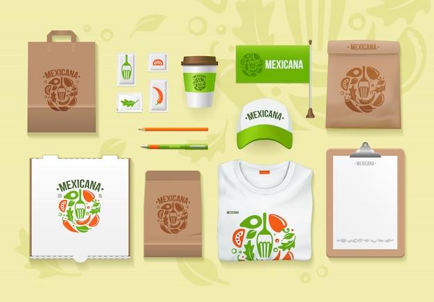 Set design modello di identità alimentare. pacchetti di branding. modello di cibo messicano