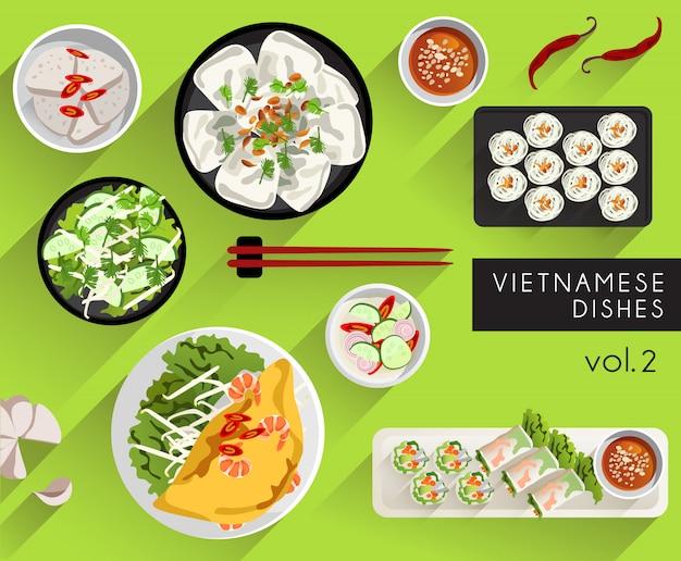 Illustrazione di cibo: set di cibo vietnamita