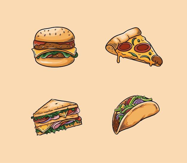Il cibo include hamburger, pizza, panino e taco.