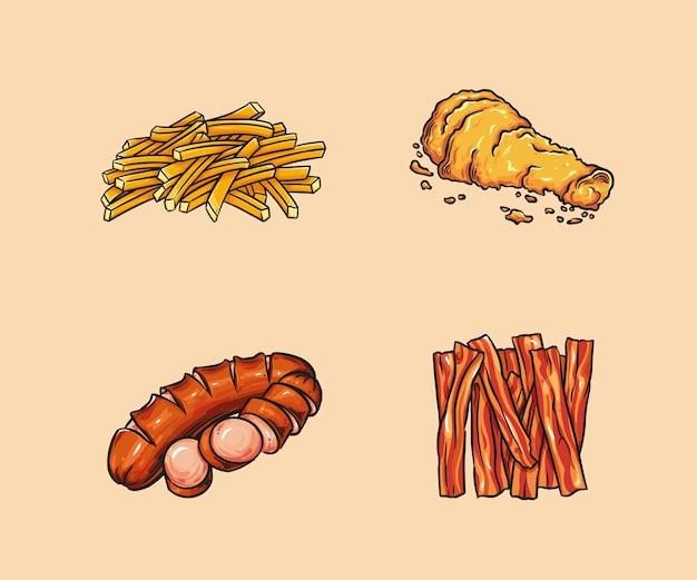 Il cibo include patatine fritte, pollo fritto, salsiccia e pancetta.