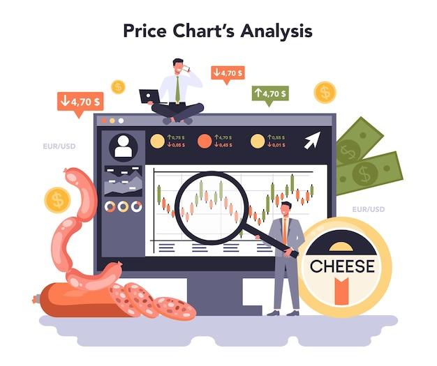 Servizio o piattaforma online del settore dell'industria alimentare dell'economia. illustrazione vettoriale piatta