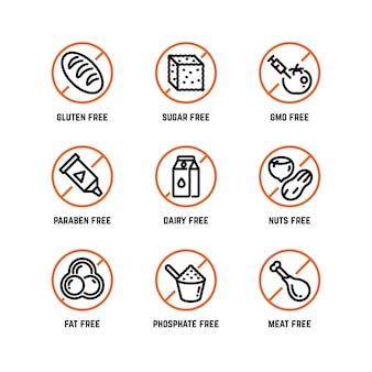 Icone di avvertimento degli ingredienti alimentari, senza fosfati, senza ogm, senza simboli di prodotti biologici senza glutine