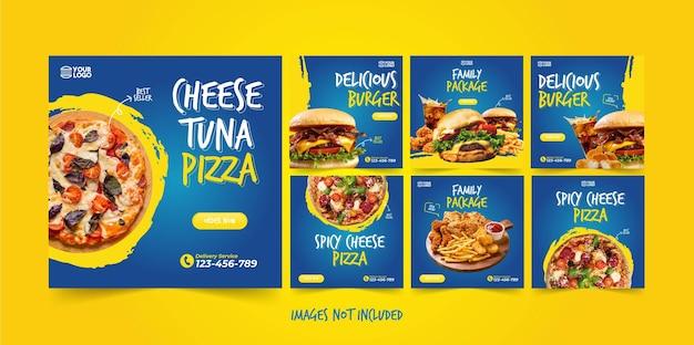 Pubblicità di instagram di cibo per il pacchetto di vettore di promozione dei social media